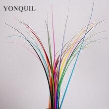 100 шт/партия, 11 цветов, 35-45 см, длинное страусиное перо, укроп, полосатый позвоночник для изготовления Необычные головные уборы, черные поделки из перьев