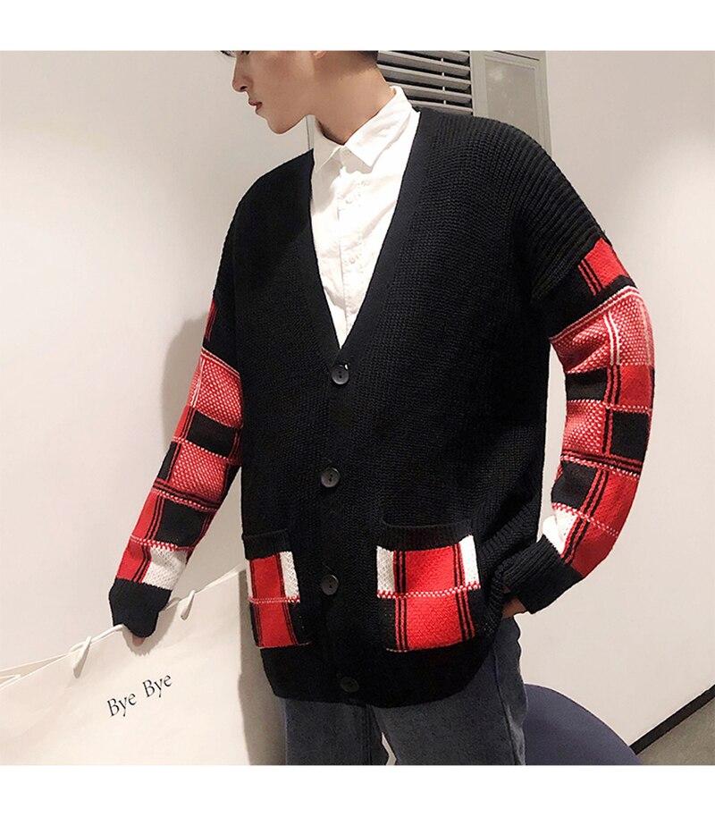 Korean Oversized Sweater Cardigan Men Plaid (15)