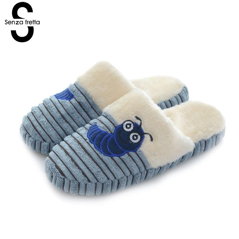 Senza Fretta Winter Warm Men Shoes Caterpillar Plush Cotton Slippers Couple Indoor Non-slip Soft Bottom Slippers Couple Slippers soft plush big feet pattern winter slippers