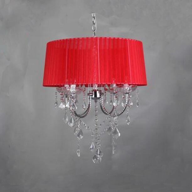 Осветительная лампа, подвесные светильники, светодиодная Хрустальная спальня, благородная Роскошная лампа, дымоход e14, лампа, стеклянная основа, светодиодная лампа, модный абажур XU - Цвет корпуса: red