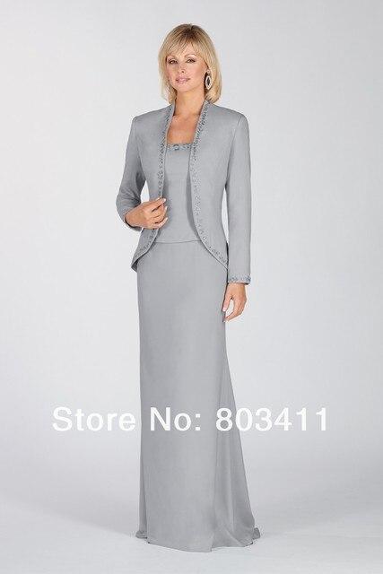 587bc2d560 Freeshipping Elegante Vaina Escote Cuadrado de Manga Larga Chaqueta Bolero  Madre De Vestido De Novia