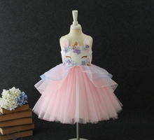 New Arrival Girls Unicorn Dresses Kids Sleeveless Princess Tulle Layered Dresses Children Cosplay Costume Hot Sale Bebe Vestido ship out after 20 days moq 5 pieces in same sizes same color 5390 unicorn layered baby girls dresses brithday kids dresses