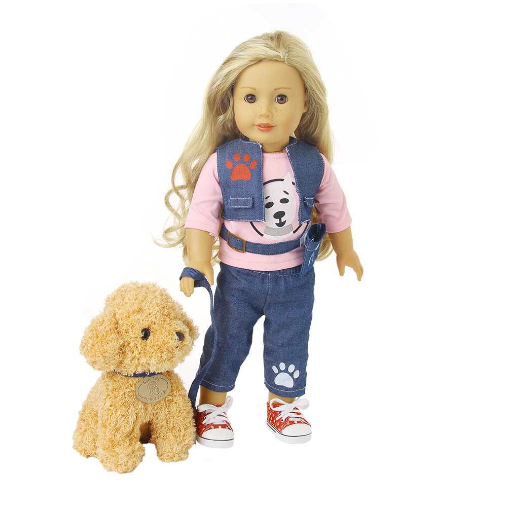 Dog Walker Inspired Doll Clothes 18Inch American Girl Inspired Outfit (Includes T Shirt, Vest, Pant, Belt, Dog, and Dog Leash) 9 colors american girl doll dress 18 inch doll clothes and accessories dresses