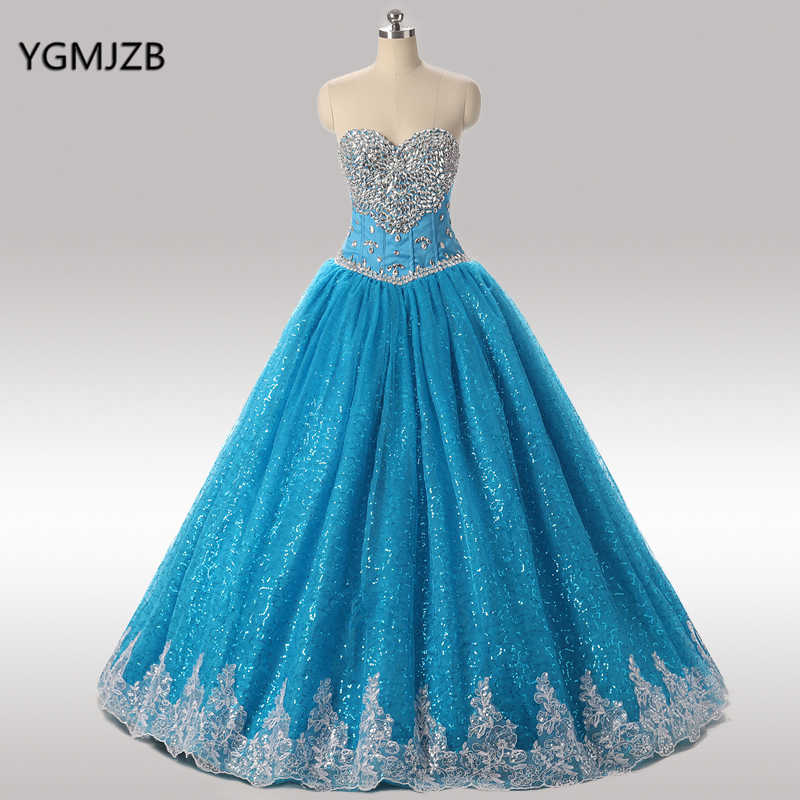 3866d2fe8ef Blue Quinceanera Dresses 2018 Ball Gown Sweetheart Beaded Crystal Lace Vestidos  De 15 Anos Sweet 16
