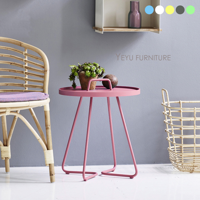 Modern Design 2 Size Small Metal Loft Side Table With Handle