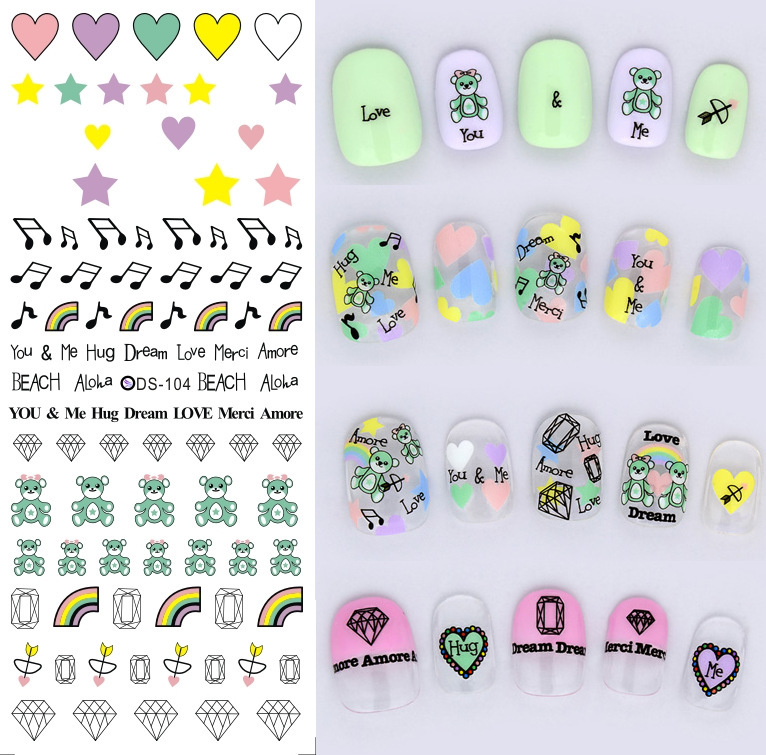 3pcs 2016 most popular water transfer printing nail sticker nails decals nail art decorations japanese nail stickers ds103 105 in stickers decals from