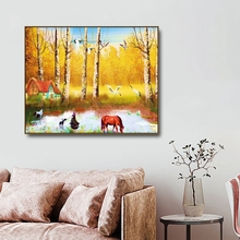 Birch Forest Autumn Wall Pictures Art Poster Print Canvas Painting Calligraphy Decorative Picture for Living Room Home Decor