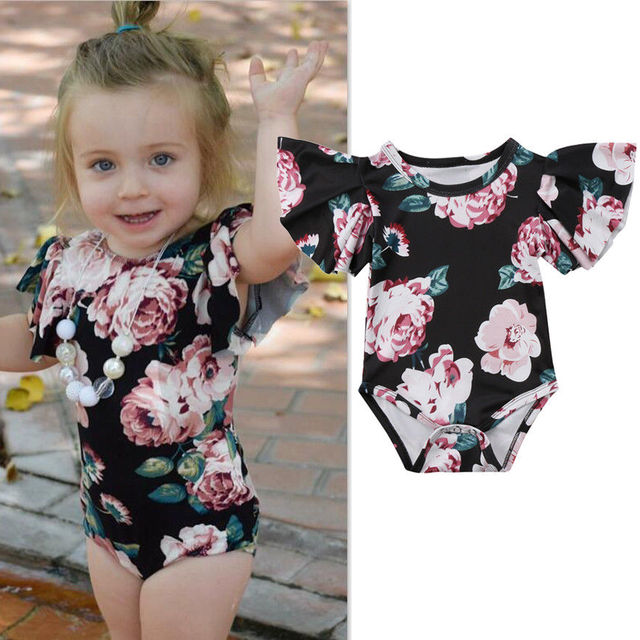 e37b70387 Infant Baby Girls Clothes Retro Floral Bodysuit Jumpsuit Outfits ...