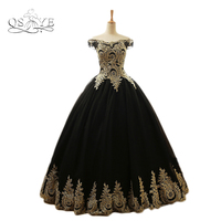 Vintage Black Saudi Arabia Evening Dresses Ball Gown Long Prom Dress Gold Lace Tulle Boat Neck Open Back Formal Gowns Custom