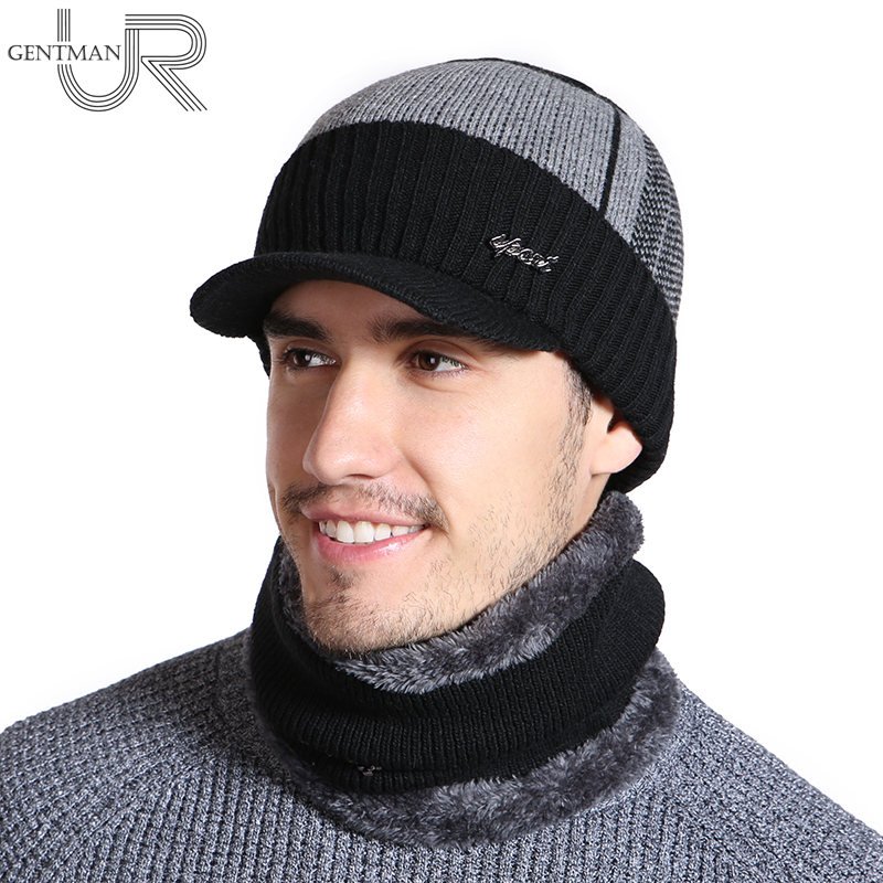 2018 Unisex   Skullies     Beanies   Hat Fashion Winter Hats For Men Women Winter   Beanie   Wool Fur Scarf Cap Warm Thick Visor Knitted Hat