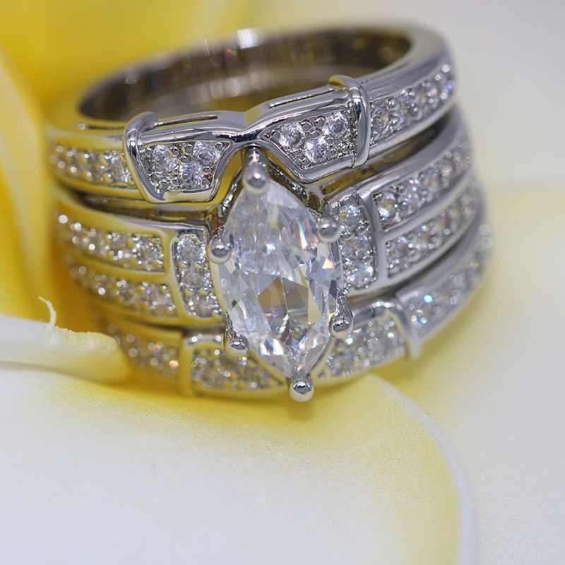 OMHXZJ ขายส่งยุโรปผู้หญิงผู้หญิงแฟชั่นผู้หญิงงานแต่งงานของขวัญรอบ Zircon 18KT สีเหลืองทองสีขาวแหวนทองชุด RR482