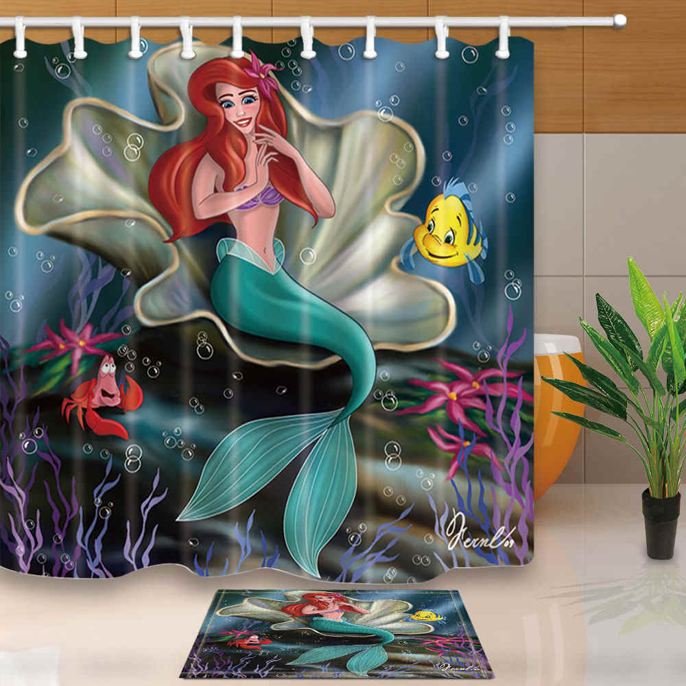 Cartoon Shower Curtains Mermaid on Seashell in the Sea Bathroom Curtains Polyester Fabric Waterproof and Mildew Proof with Hooks