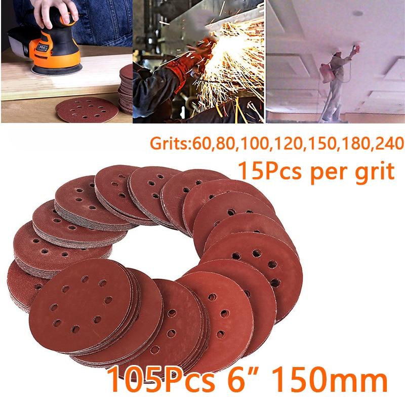 105 pcs/set Sandpaper 150mm 8 Holes 60-240 Grits Polishing Attachment Rotary tools105 pcs/set Sandpaper 150mm 8 Holes 60-240 Grits Polishing Attachment Rotary tools