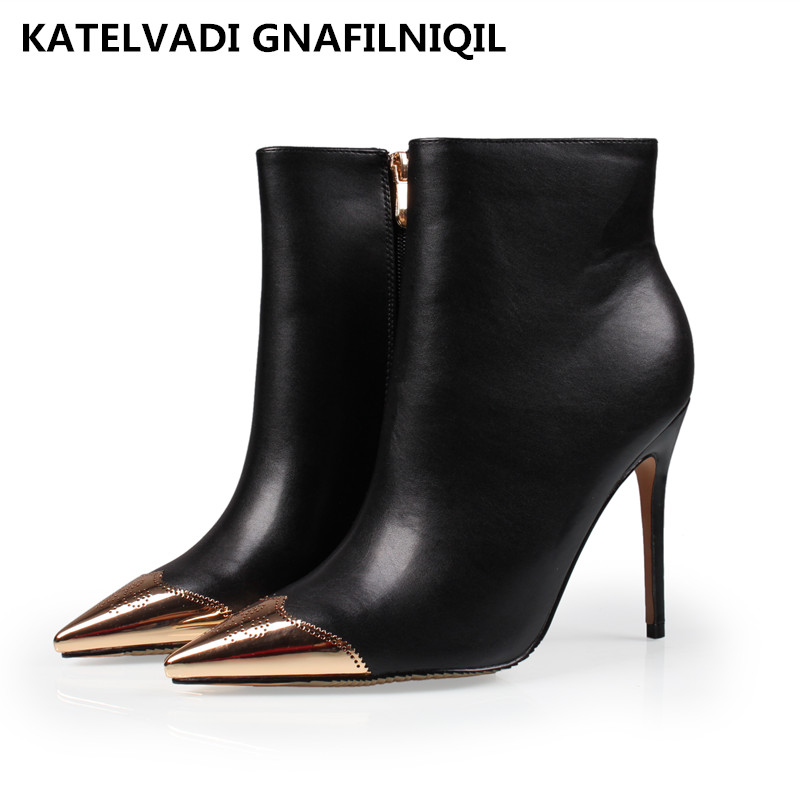 2016 Brand Women Boots Fashion PU Leather Shoes Woman High Heels Boots Black Winter Ankle Boots Pointed Toe Snow Shoes FS-0113 2016 women knee high boots leather winter boots pointed toe zip casual shoes women high heels big size 32 45 black boots woman