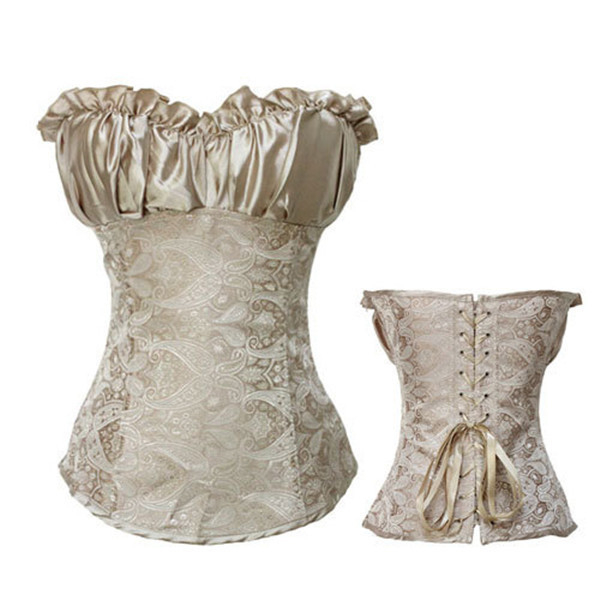 Size S-2XL Gothic Sexy Overbust Brocade Floral Lingerie Corset Satin Waist Cincher Underwear Bustiers and Corsets