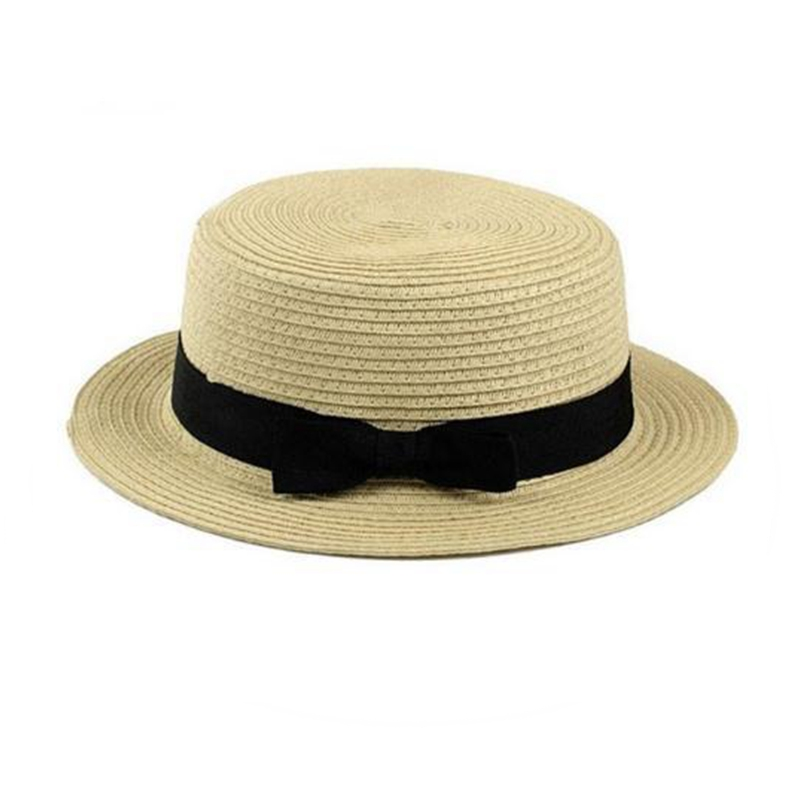 Lady Boater Sun Caps Ribbon Round Flat Top Straw Beach Hat Panama Hat Summer Hats for Women Straw Hat Snapback Gorras FS038