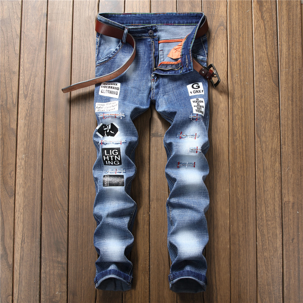 Jeans men 2018 spring skinny jeans men ripped jeans for mens joggers distressed preppy style mid waist straight letter appliques