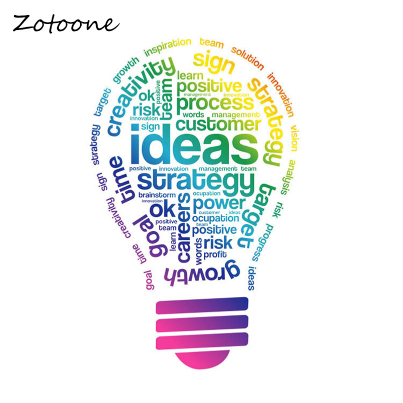 ZOTOONE Colored Light Bulbs Wall Stickers Creative Lettering Words Decals For Home Living Room Sofa Background Arts Poster In From