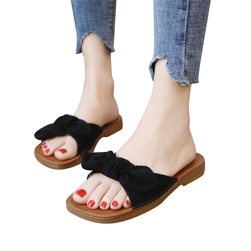 Women Fashion Solid Color Suede Bow Hasp Flat Heel Square Toe Sandals Women's Summer Footwear Brand Fashion Chaussures Sapato lastest women summer sweet sandals slipper fashion solid color suede flower bow hasp flat heel square toe sandals schuhe damen