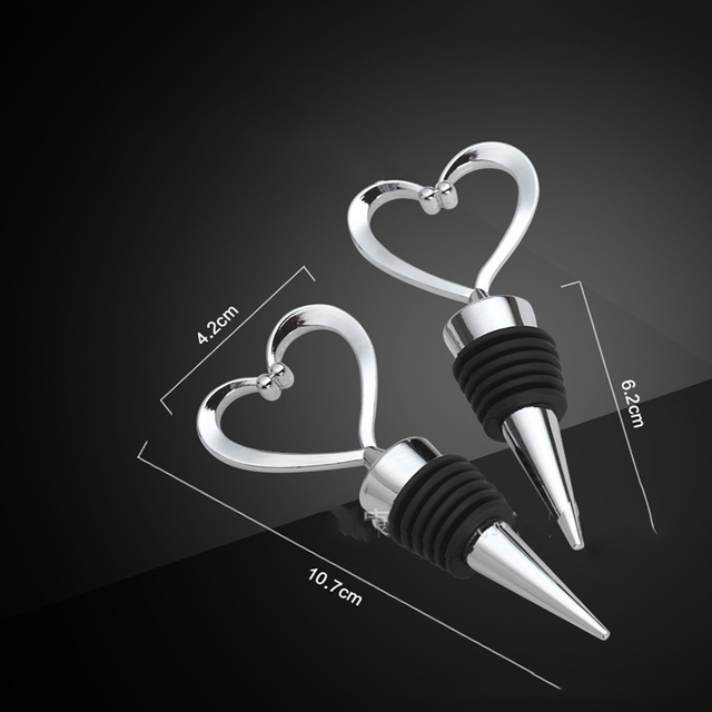 1PCs Stainless Steel Heart Wine Stoppers Champagne Wine Bottle Stopper New Year Valentines Wedding Favors Gifts Cork Corkscrew