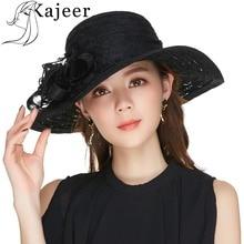 цена на Kajeer Church Hats For Women Black Sexy Floral Crown Vintage Style Organza Fascinator Sun Hat Women Party Dance Hair Accessory