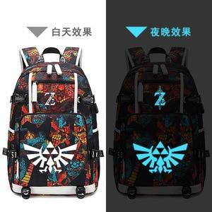 Image 2 - The Legend of Zelda:Breath of the Wild Game Printing Zelda Backpack Canvas School Bags USB Charging Laptop Backpack Travel Bags