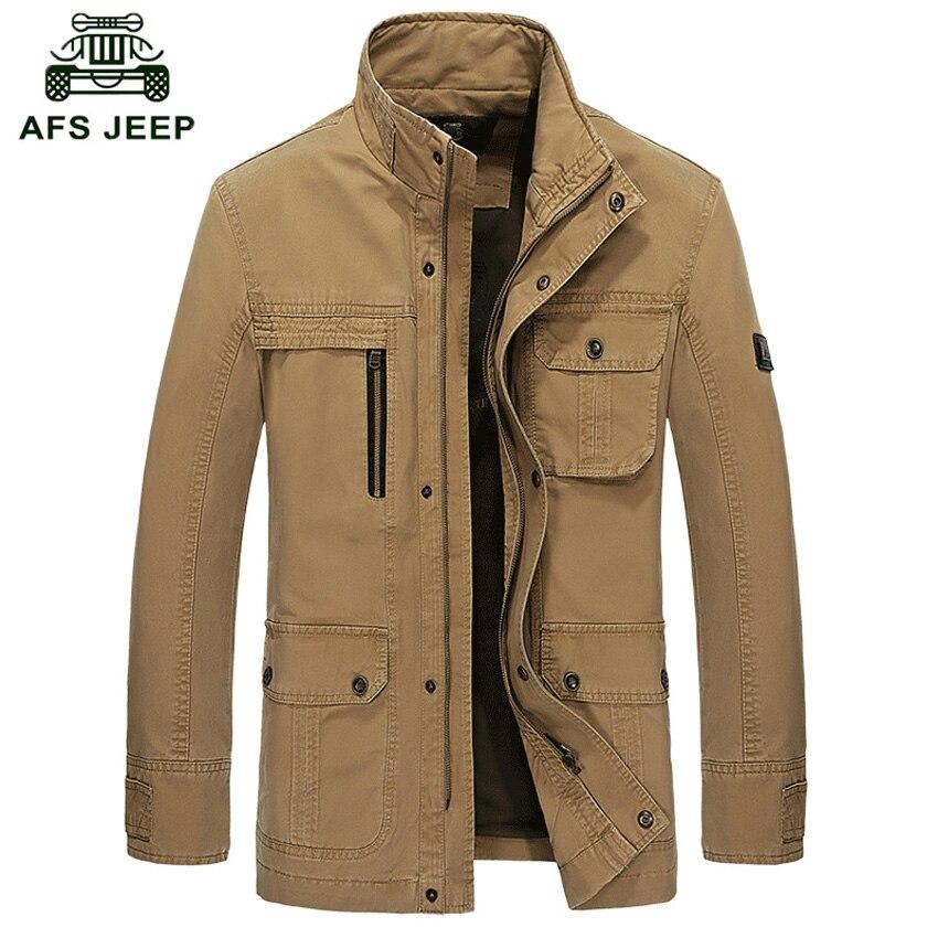 AFS JEEP Uomini di marca 100% cotone Primavera/Autunno giacche di cotone da Uomo esercito militare soldato Lavaggio del cotone giacca abbigliamento uomini h135