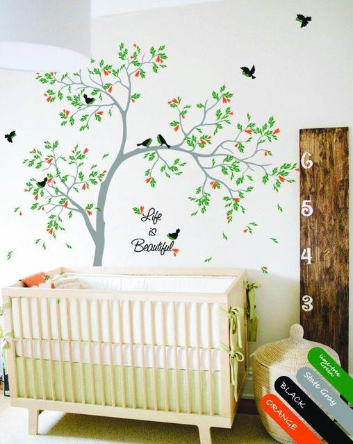 Birds tree wall decal with leaves and cute sparrows life is birds tree wall decal with leaves and cute sparrows life is beautiful diy removable wallpaper altavistaventures Choice Image