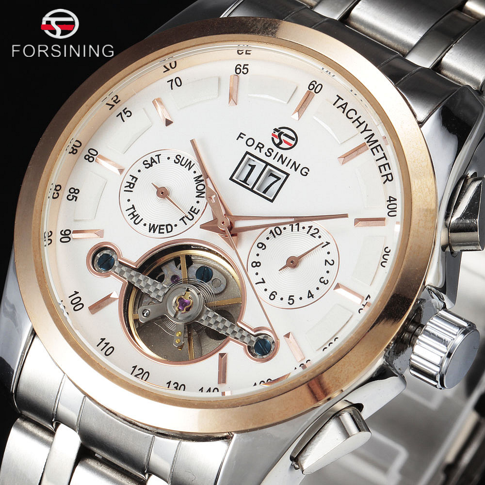 2017 FORSINING Luxury Stainless Steel Watches Tourbillon Automatic Wristwatch Auto Date Calendar Dial Men Dress Mechanical Watch tevise men automatic self wind gola stainless steel watches luxury 12 symbolic animals dial mechanical date wristwatches9055g