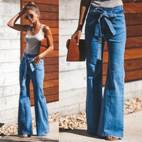 Autumn Tie Waist Flare Jeans Woman Denim Trousers Vintage Women Clothes 2018 Fall High Waist Pants Belted Elegant Stretchy Jeans