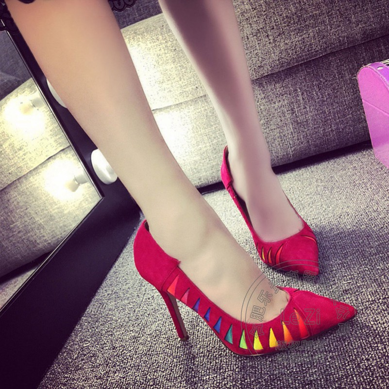Shallow Mouth Sexy Pointed Toe High Heels Stilletos Pump Suede Shoes For font b Women b