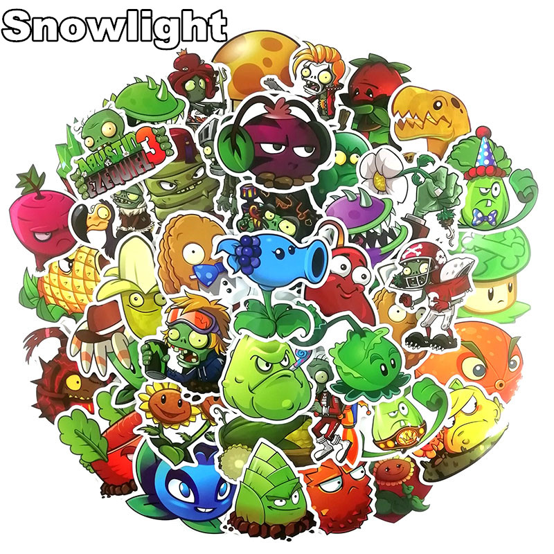 50 Pcs/Set Plants Vs Zombies Graffiti Stickers For Laptop Suitcase Luggage Bike Skateboard Car Vinyl Decals DIY Sticker