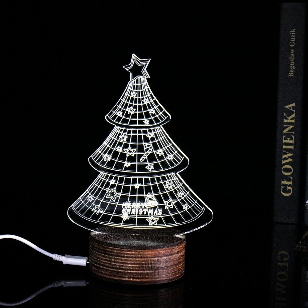 Customized multi styles 3d light table lamp christmas tree for Christmas tree light lamps