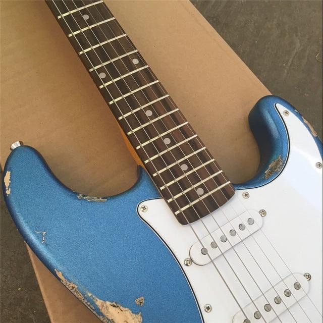 Custom Relic metal blue paulownia wood body ST 1