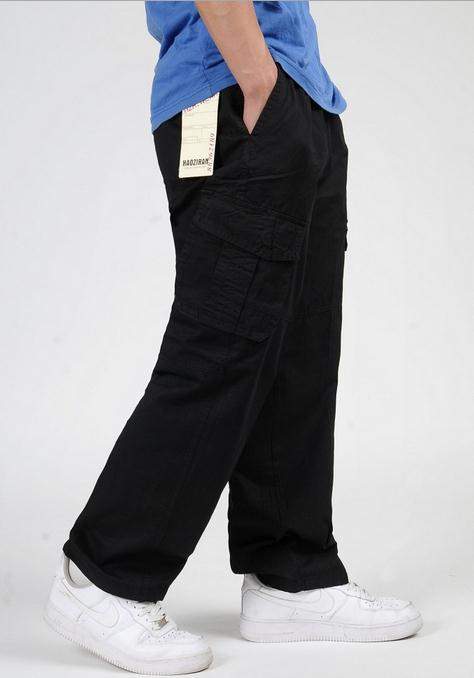 Spring Summer Fat CASUAL PANTS Cotton Man Long pants Big Size Loose Fertilizer increased overalls Bib Overall Men Trousers 2221#