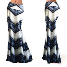 2017 new fashion sexy hot casual print empire Women Long Gypsy High Waist Maxi Skirts Stretch Full Length Skirt Oversize