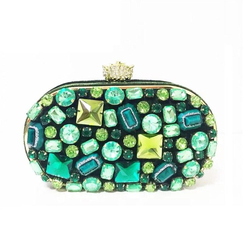 ФОТО 2017 New fashion dark green velvet handmade Luxury diamond beaded evening clutch bag noble women bag women chain schoulder bags