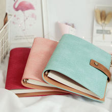 Creative Cute Removable Canvas leather 6 holes Spiral Loose leaf Notebook Office binder Gift box 720 degrees soft Diary Bujo A5