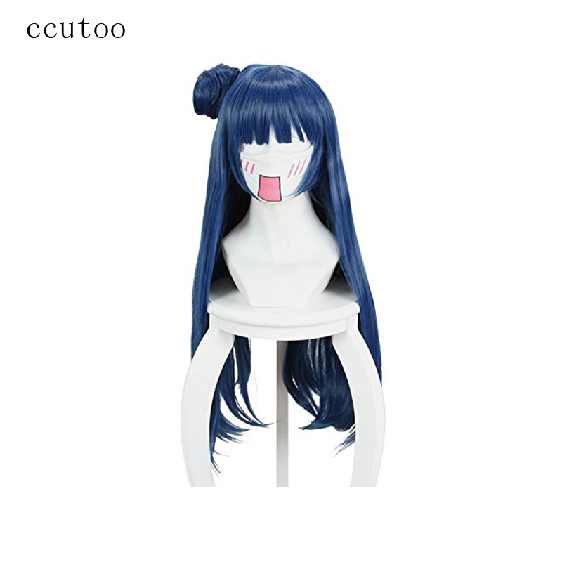 Sunshine! Motivated Ccutoo 80cm Love Live Tsushima Yoshiko Blue Long Synthetic Hair Cosplay Wig With Bun Chip Heat Resistance Fiber