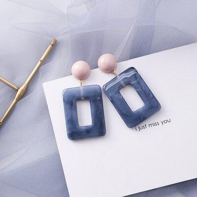 AOMU coréen bleu géométrique acrylique irrégulière cercle creux carré balancent des boucles d'oreilles pour les femmes en métal bosse fête plage bijoux 30