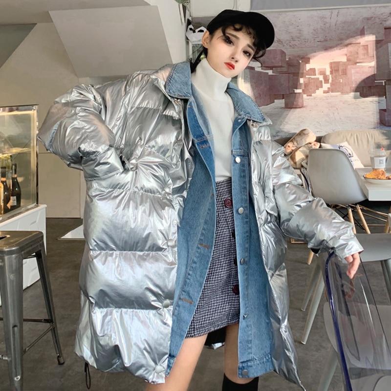 Mode Bomber Denim Parkas Chaud Femmes Patchwork Pour Femelle Vestes D'hiver Argent Manteau Lâche Survêtement Métal Col Streetwear rzw0Ar