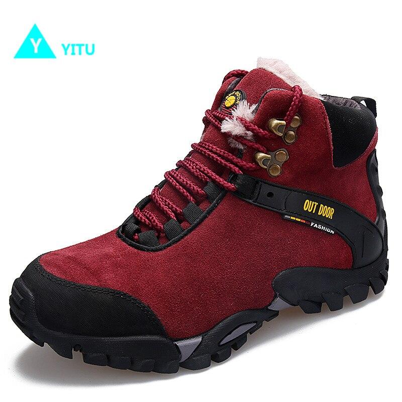 YITU Women Hiking Boots Climbing Shoes Outdoor Sports Women Winter Sneakers With Fur Big Size Anti-skid Sole Camping Sneakers