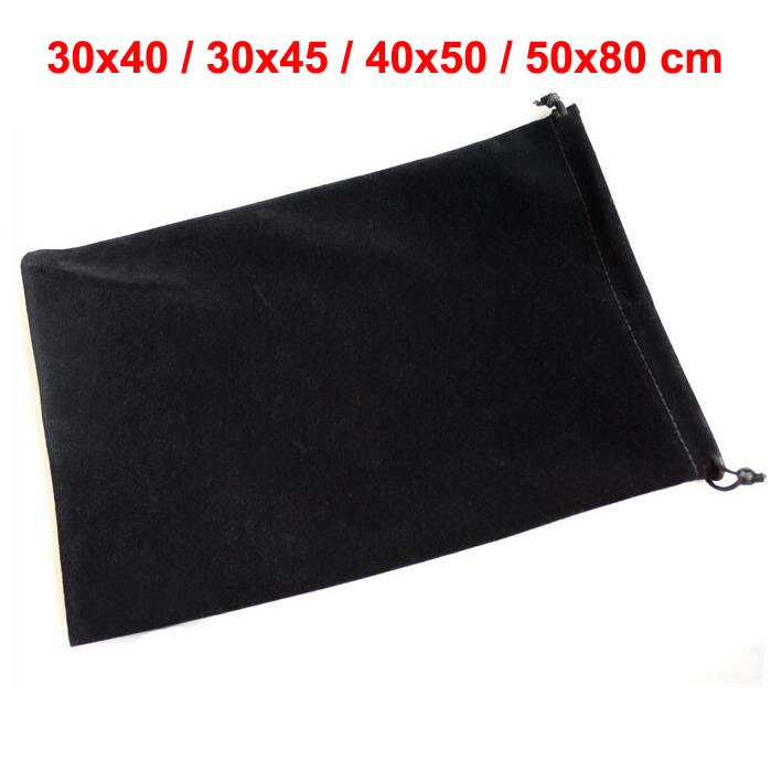 The Largest 30*40, 30*45, 40*50, 50*80 Cm Big Size Black Drawstring Velvet Bag For Gift Large Packaging Pouches Retail From 1 Pc