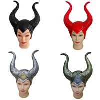 Maleficent Mask Trendy Genuine Latex Maleficent Horns Adult Women Halloween Party Costume Jolie Cosplay Headpiece Hat