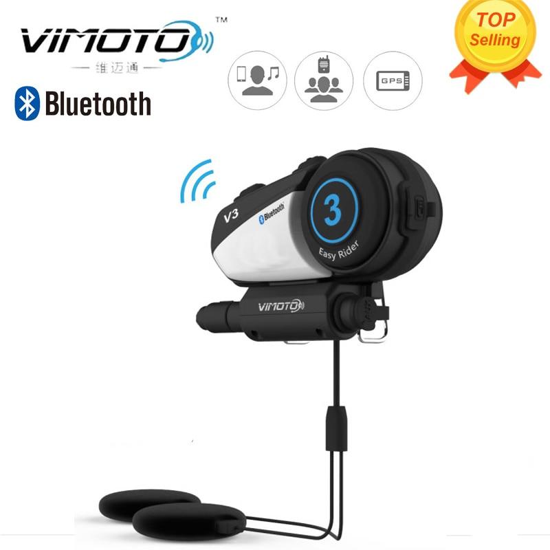 Versión inglés Vimoto V3 Easy Rider 600 mAh motocicleta casco auricular Bluetooth multifuncional auriculares para dos vías Raidos