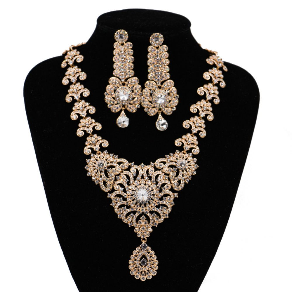 LAN PALACE nigerian beads necklace jewelry set vrouwen austrian crystal necklace and earrings wedding necklace free shipping