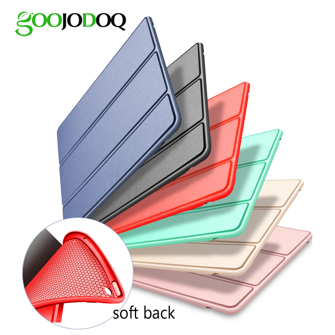 For iPad Air 2 Air 1 Case Silicone Soft Back Slim Pu Leather Smart Cover for Apple iPad Air Case Sturdy Stand Auto Sleep / Wake surehin nice tpu silicone soft edge cover for apple ipad air 2 case leather sleeve transparent kids thin smart cover case skin