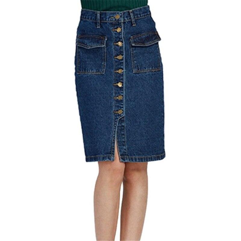 Popular Knee Length Denim Skirts for Women-Buy Cheap Knee Length ...