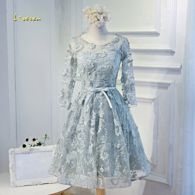 Loverxu Gorgeous Long Sleeve Lace Knee Length Homecoming Dresses 2107 Appliques Vintage A-Line Short Graduation Dress For Party