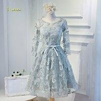 Loverxu Gorgeous Long Sleeve Lace Knee Length Homecoming Dresses 2107 Appliques Vintage A Line Short Graduation